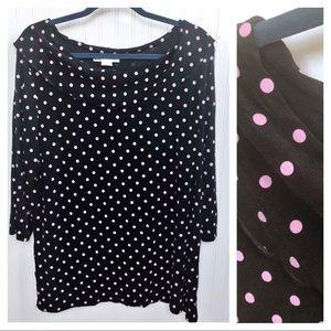 Dress Barn Black & Pink Polka Dot Slinky Knit Top